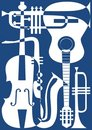 Abstract blue musical instruments, vector illustra Stock Image
