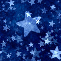 Abstract blue stars background with grunge effect Stock Image