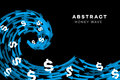 Abstract Blue Wave With Dollars And Arrows. Conceptual Vector Illustration Royalty Free Stock Photo
