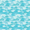 Abstract blue waves seamless pattern background vector with hand drawn elements Stock Images