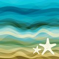Abstract blue wavy background design creativity of and beige waves vector illustration eps Stock Image