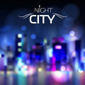Abstract blur night city background blue Stock Photo