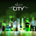 Abstract blur night city background green Royalty Free Stock Photo