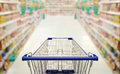 Abstract blurred photo of supermarket with empty shopping cart Royalty Free Stock Photo