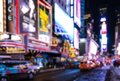 Abstract blurry background of Time Square at night. New York City Manhattan Royalty Free Stock Photo