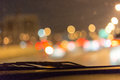 Abstract bokeh of road in car for background.