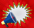 Abstract boom blank speech bubble pop art, comic book on red background Royalty Free Stock Photo