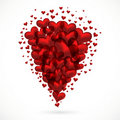Abstract bouquet of red hearts flying up. Royalty Free Stock Photo