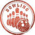 Abstract bowling rubber stamp grunge design in red tones. Royalty Free Stock Photo