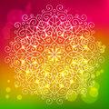 Abstract bright background with a round mandala ornament, sparkl