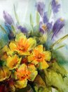 Abstract bright colored decorative background . Floral pattern handmade . Beautiful tender romantic bouquet of iris flowers Royalty Free Stock Photo