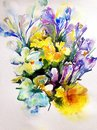 Abstract bright colored decorative background . Floral pattern handmade .Beautiful tender romantic bouquet of flowers, made in the Royalty Free Stock Photo
