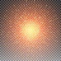 Abstract bright golden shimmer glowing square particles vector background. Royalty Free Stock Photo