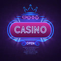 Abstract bright vegas casino banner with neon frame. Vector gambling background Royalty Free Stock Photo