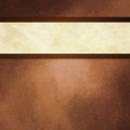 Abstract brown background with white ribbon and dark brown border trim Royalty Free Stock Photo