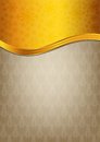 Abstract brown celebration paper with golden ribbo Royalty Free Stock Photography