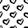 Abstract brush seamless heart pattern. Ink illustration. Black and white.Hand drawn seamless pattern made of vintage hearts.