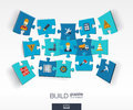 Abstract build background with connected color puzzles, integrated flat icons. 3d infographic concept with industry, Construction