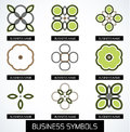 Abstract business green geometric symbols icon set this is file of eps format Royalty Free Stock Image