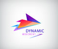 Abstract business logo icon design template arrow, origami dynamic sign.