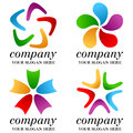 Abstract business logos set collection of four colorful isolated on white background useful for you company logo design space for Royalty Free Stock Photos