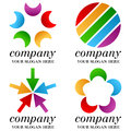 Abstract business logos set collection of four colorful isolated on white background useful for you company logo design space for Stock Photos