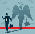 Abstract businessman is angel in disguise great illustration of retro styled whos shadow reveals him to be somebody quite good the Stock Images
