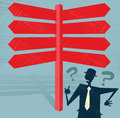 Abstract businessman at blank signpost has choices the crossroad great illustration of retro styled with a selection of options Stock Photo