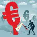 Abstract Businessman cuts down the Euro. Royalty Free Stock Photo