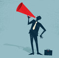 Abstract businessman with megaphone illustration of retro styled shouting at the top of his voice through a loudspeaker Royalty Free Stock Images