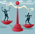 Abstract businessmen balance on giant scales great illustration of retro styled balancing a huge set of metaphorical Royalty Free Stock Photo