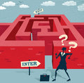 Abstract businesswoman embarks on a difficult maze journey great illustration of retro styled with very Stock Photo
