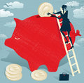 Abstract businesswoman saves money in piggy bank great illustration of retro styled businessman climbing to the top of a giant to Stock Images