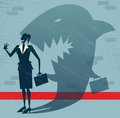 Abstract businesswoman is a shark in disguise illustration of retro styled whos shadow reveals her to be somebody quite sinister Stock Photos