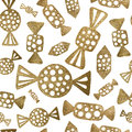 Abstract candy seamless pattern. Gold candies background.