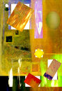 Abstract on canvas image of an original mixed media oil painting Royalty Free Stock Photography