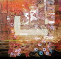 Abstract on canvas original oil painting oil and mixed media Stock Photo
