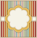 Abstract Card With Flower And Colorful Retro Striped Background Royalty Free Stock Photo