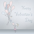 Abstract cards with hand drawn pair with balloons, scribble font, folded. Valentines day Royalty Free Stock Photo