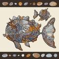 Abstract Cartoon Sea Fish. Royalty Free Stock Photo