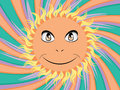Abstract cartoon sun with happy face on background with rays Royalty Free Stock Photography