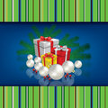 Abstract celebration background with christmas gif gifts and decorations on blue Stock Photos
