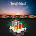 Abstract celebration background with christmas gif greeting gifts and decorations on blue Stock Photo