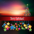 Abstract celebration background with christmas tre tree and sunrise Royalty Free Stock Photography