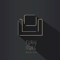 Abstract chair symbol - creative furniture logo design. Royalty Free Stock Photo