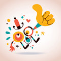 Abstract character thumb up illustration Royalty Free Stock Photography
