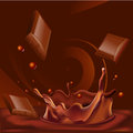 Abstract chocolate splash background - vector illustration Royalty Free Stock Photo