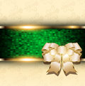Abstract christmas background with bow and green mosaic banner vector Royalty Free Stock Photos