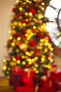 Abstract Christmas background with defocused lights Royalty Free Stock Photo