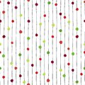 Abstract Christmas background. Vertical stripes with green and red dots. Seamless hand drawn pattern. Circles on Royalty Free Stock Photo